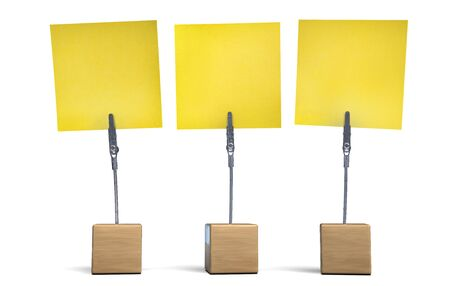 Yellow Memo Note Set of 3. Reminder Adhesive Notes on a Cube Base. 3D Illustration.