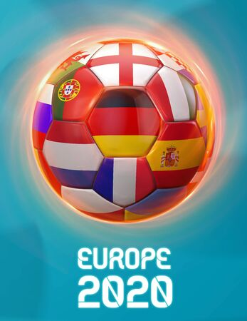 Germany Soccer European Championship Theme Europe 2020. Poster 3D Illustration. Award Cup Soccer Design.