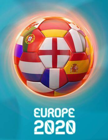 England Europe 2020 Soccer European Championship Theme. Poster 3D Illustration. Award Cup Soccer Design. 版權商用圖片