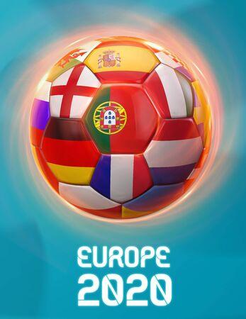 Portugal Europe 2020 Soccer European Championship Theme. Poster 3D Illustration. Award Cup Soccer Design.