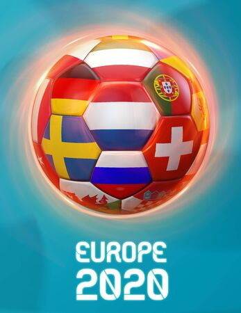 Holland Europe 2020 Soccer European Championship Theme. Poster 3D Illustration. Award Cup Soccer Design.