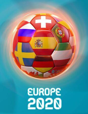Spain Europe 2020 Soccer European Championship Theme. Poster 3D Illustration. Award Cup Soccer Design. 版權商用圖片