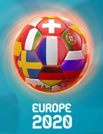 France Europe 2020 Soccer European Championship Theme. Poster 3D Illustration. Award Cup Soccer Design.