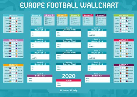 Europe Football Competition Matches Program Wall Chart Vektorové ilustrace