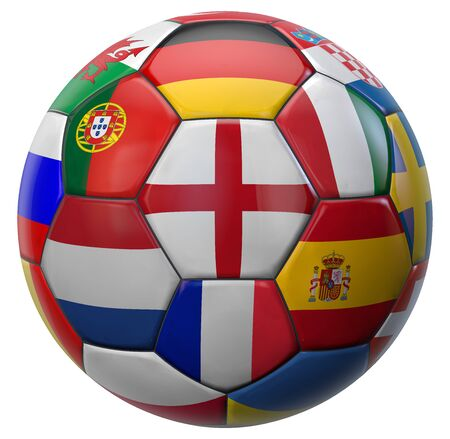 European Football Ball with England in the Center and Other National Soccer Teams Flags Around. 3D Illustration. Isolated on White. 版權商用圖片