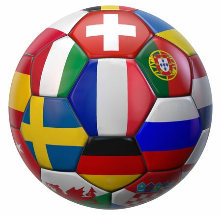 European Football Ball with France in the Middle and Other National Soccer Teams Flags Around. 3D Illustration. Isolated on White. 版權商用圖片