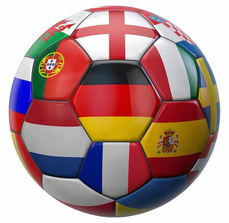 European Football Ball with Germany in Middle and Other National Soccer Teams Flags Around. 3D Illustration. Isolated on White.  版權商用圖片