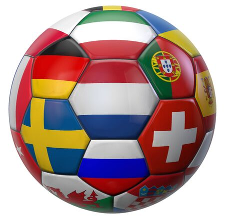 European Football Ball with Holland in the Middle and Other National Soccer Teams Flags Around. 3D Illustration. Isolated on White.