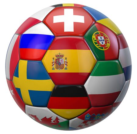 European Football Ball with Spain in the Center and Other National Soccer Teams Flags Around. 3D Illustration. Isolated on White. 版權商用圖片