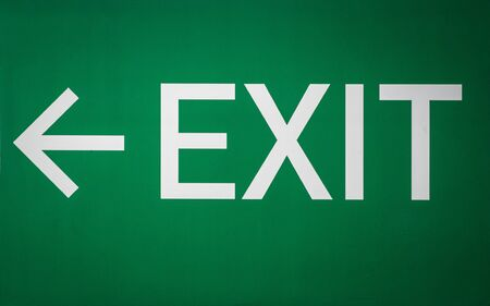 Exit Sign Directional Way-finding  Signage in White and Green