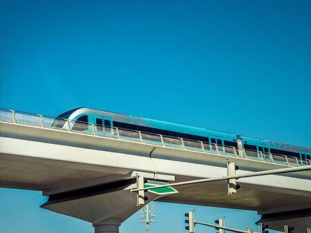 Dubai Blue Metro Train - City Mobility Rail Transport