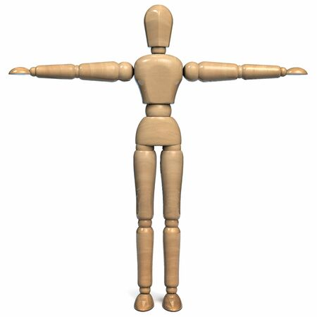 Wooden Figurine Man Character Dummy Isolated on White Background. 3D Illustration.