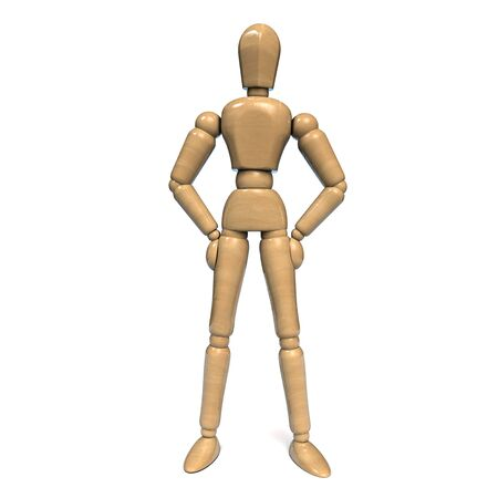 Wooden Figurine Man Character Dummy with Hands on Hips. Isolated on White Background. 3D Illustration.
