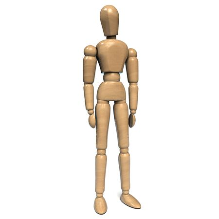 Wooden Figurine Man Character Dummy with Hands Down. Isolated on White Background. 3D Illustration.