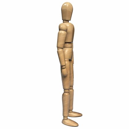 Wooden Figurine Man Character Dummy Side View. Isolated on White Background. 3D Illustration. 版權商用圖片