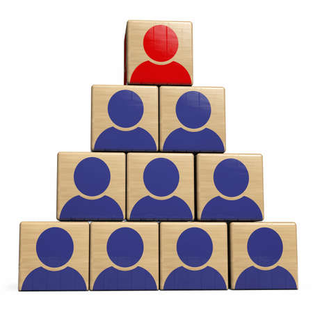 Leadership Human Resource Management and Recruitment Concept. Manager Wood Cube on Top of Workforce Team Structure. 3D Illustration. 版權商用圖片
