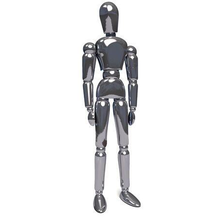 Metal Robot Humanoid Standing Isolated on White Backgorund. 3D Illustartion.  版權商用圖片