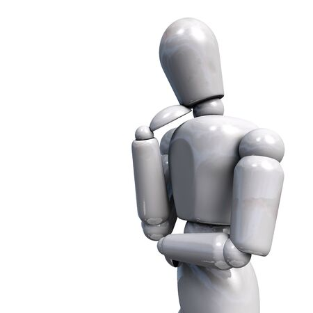 Humanoid Robot in Thoughtful Pose Seemingly Thinking or Deciding. Artificial Intelligence Concept. 3D Illustration Isolated on White.  版權商用圖片