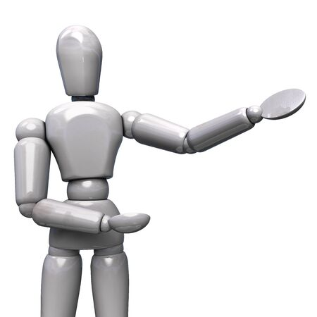 White Robot Character Showing Presentation. Isolated on White Background. 3D Illustration.