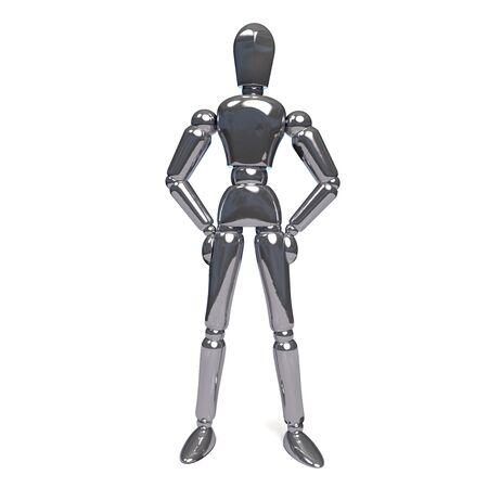 Metal Robot Looking at Camera. 3D Illustration.