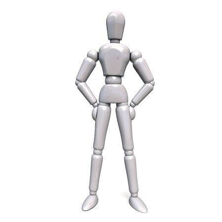 White Plastic Robot Standing with Legs Apart. 3D Illsutartion.  版權商用圖片