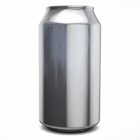 Blank Silver Aluminum Drink Can. Isolated on White. 3D Illustration.