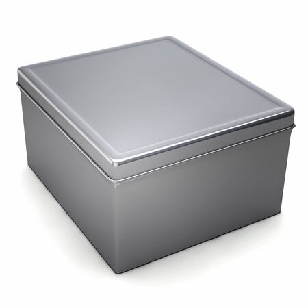 Metal Box Closeup Shot Isolated on White. 3D Illustration.