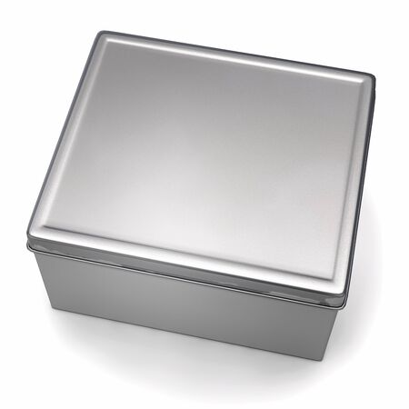 Tin Box Isolated on White. 3D Illustration. 版權商用圖片