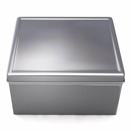 SIlver Metal Box Isolated on White. 3D Illustration. 版權商用圖片
