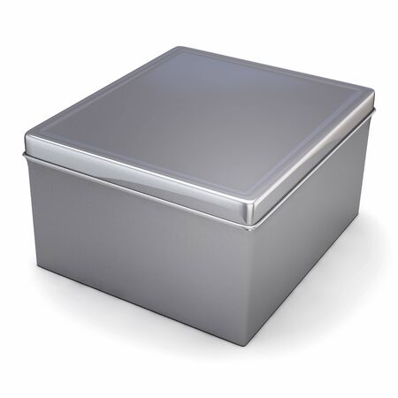 Metal Box in Silver Grey Color Isolated on White. 3D Illustration.