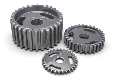 Gear Metal Parts Isolated on White. 3D Illustration.
