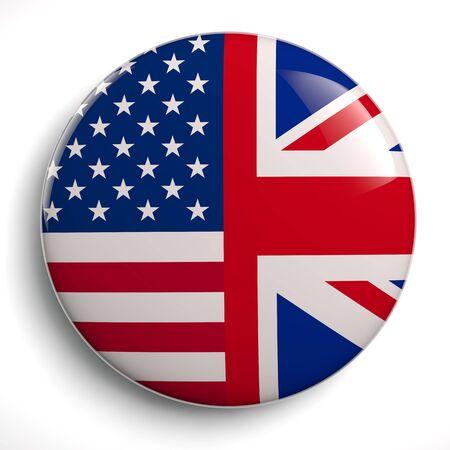 USA - UK Speacial Relationship Flags Circle Symbol - 3D Illustration
