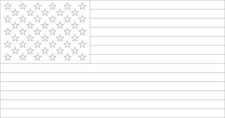 USA Flag Coloring Book Outline Illustration