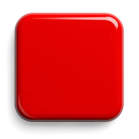 Red Button. Square Shiny Plate Isolated on White. Clipping path included. 3D illustration. 版權商用圖片