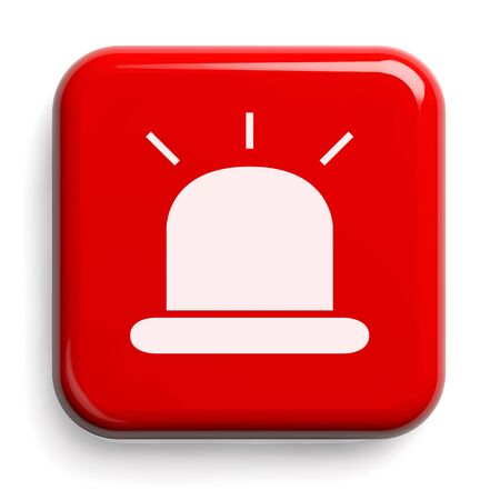 Red Alarm Isolated on White. Clipping path included. 3D illustration.