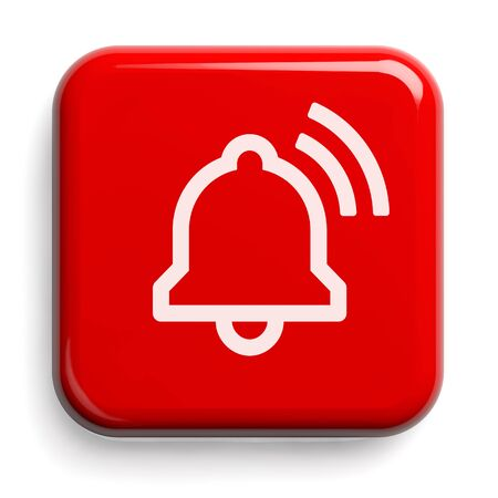 Red Alarm Bell Button Isolated on White. Clipping path included. 3D illustration.