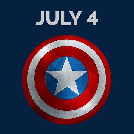 Fouth of July Banner. Showing July 4 Text and USA Flag Shield. 3D Illustration. 版權商用圖片