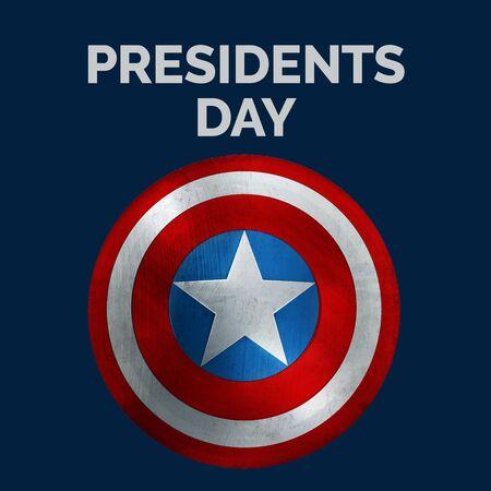 Presidents Day Banner. USA Flag Shield 3D Illustration.
