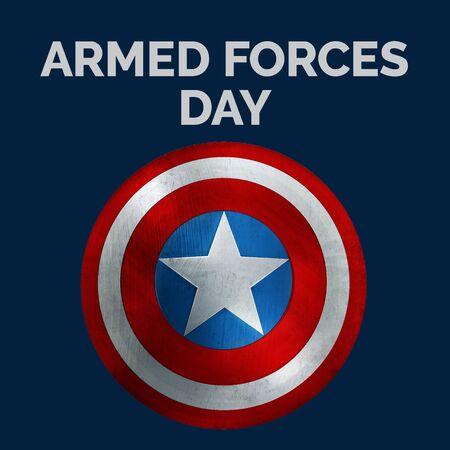 Armed Foces Day Banner. USA Flag Shield 3D Illustration.