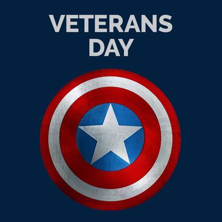Veterans Day Banner with USA Shield. 3D Illustration. 版權商用圖片