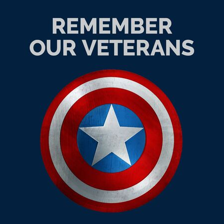 Veterans Day Message Banner with Text Remember Our Veterans and USA Shield. 3D Illustration.