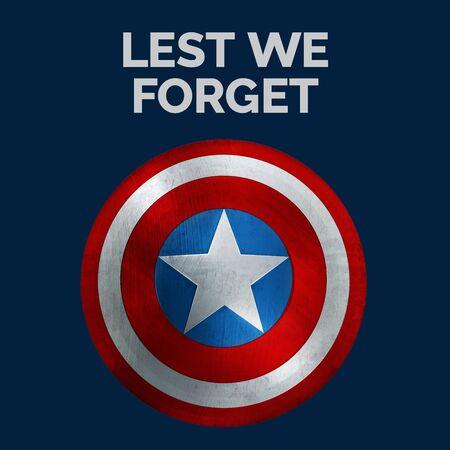 Lest We Forget Memorial Day Banner. 3D Illustration.