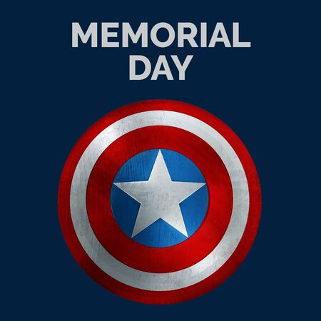 Memorial Day Banner. USA Flag Colors Round Shield and Text. 3D Illustration.