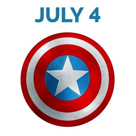 Independence Day Banner. USA Flag Shield 3D Illustration.