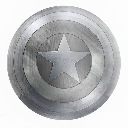 Metal Round Shield with Silver Star in the Middle. Isolated on White. 3D Illustration. 版權商用圖片
