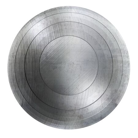 Round Shield with Scratched Metal Texture.