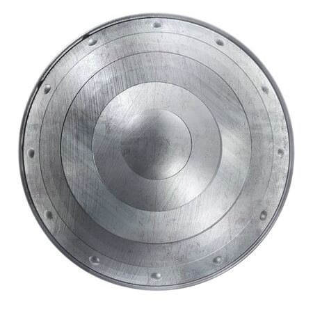 Round Shield Clipart Image with Scratched Metal Texture. Isolated on White.