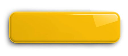Yellow Button Clipart Image. Rectangular Shiny Plate Isolated on White. Clipping path included. 3D illustration. 版權商用圖片