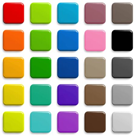 Web Buttons Sqaure Shape Design in Different Colors with Shadow.