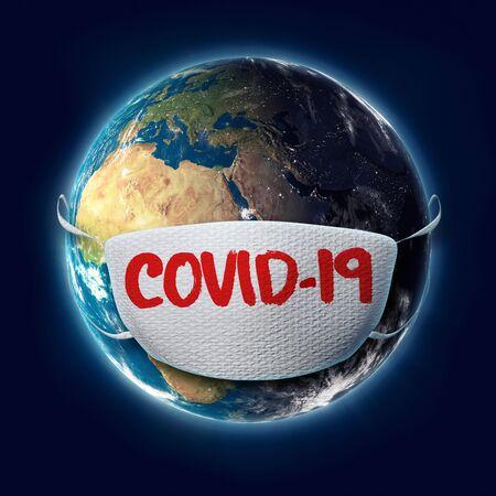 COVID-19 Coronavirus Text on Face Mask on Planet Earth. 3D Illustration.